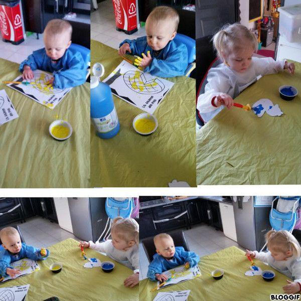 Peinture et paillettes ce matin centerblog for Peinture paillettes